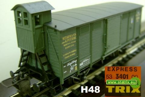 H48 / Trix Express 3401 bavarian Boxcar with break mens