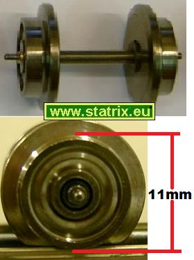 zu133/ Trix Express axle, diameter  11mm with needle roller bear