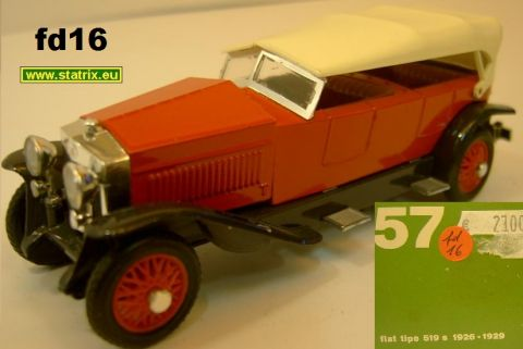 Rio Nr. 57, Fiat Tipo 519S rot, weißes Verdeck 1926 (fd16)