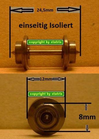 Trix Express Metall Tauschradsatz 8mm einseitig Isoliert