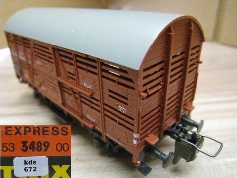 Trix Express 3489 Kleinviehwagen mit Tonnendach (kds672)